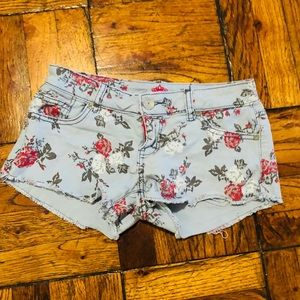 Almost Famous Floral Print Distressed Jean Shorts